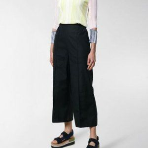 SPORTMAX High Waisted Wide Cotton Crop Pant